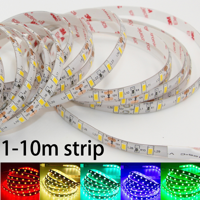 Super Bright LED strip light SMD 5630 5730 DC 12V Non /ip65 Waterproof Fita 60leds/m 3M tape diodes String lamp 1m 2m 3m 5m 10m 1m 2m 3m 4m 5m led strip smd 5630 120leds m non waterproof flexible 5m 600 led tape 5730 dc12v tape rope lamp light