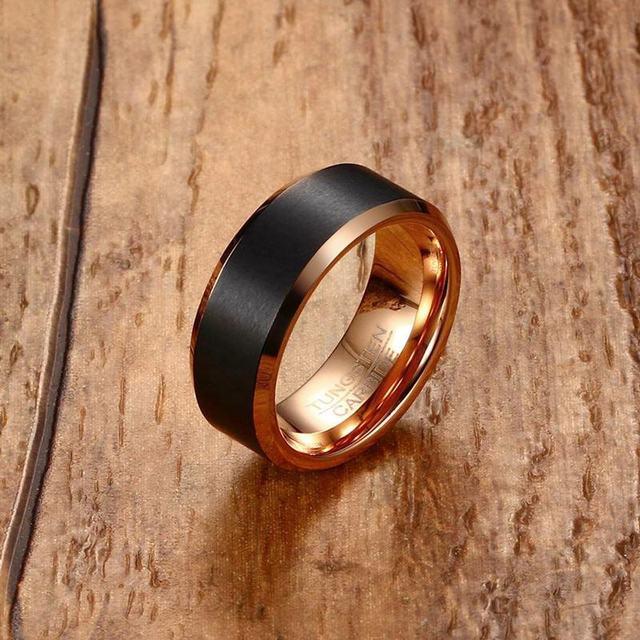 Fashion Mens Tungsten Carbide Ring Men Black Matte Brushed Wedding