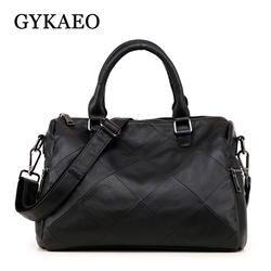 GYKAEO 2018 зимняя натуральная кожа женская Подушка клетчатая сумка-тоут сумки женские известные бренды натуральная кожа сумка через плечо