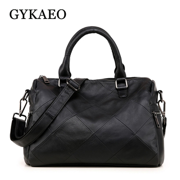 GYKAEO 2019 Winter Real Leather Women Pillow Plaid Tote Bags Handbags Women Famous Brands Genuine Leather Messenger Shoulder Bag