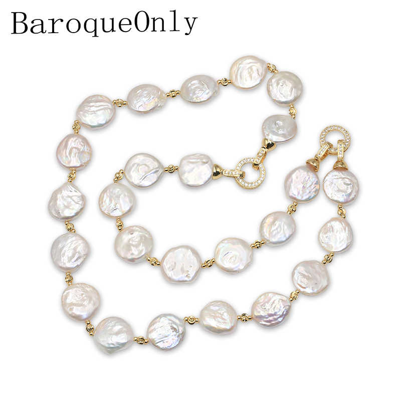BaroqueOnly Special Shape Natural Pearl Baroque Style Coin white Pearl necklace sweater chian/bracelet/choker lighting buckle