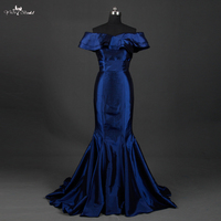 TE002 Mermaid Off The Shoulder Royal Bule Taffeta Dresses Evening Dress