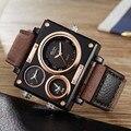 Часы OULM Мужские  модные  крутые  прямоугольные  с 3 часовыми зонами  кварцевые  тканевые  часы relogios masculino 2020