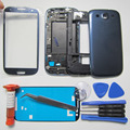 Phone Replacement Parts For Samsung Galaxy SIII i9300 Full Housing Front Frame/Middle bezel & Rear Case&Outer Glass& LOCA glue