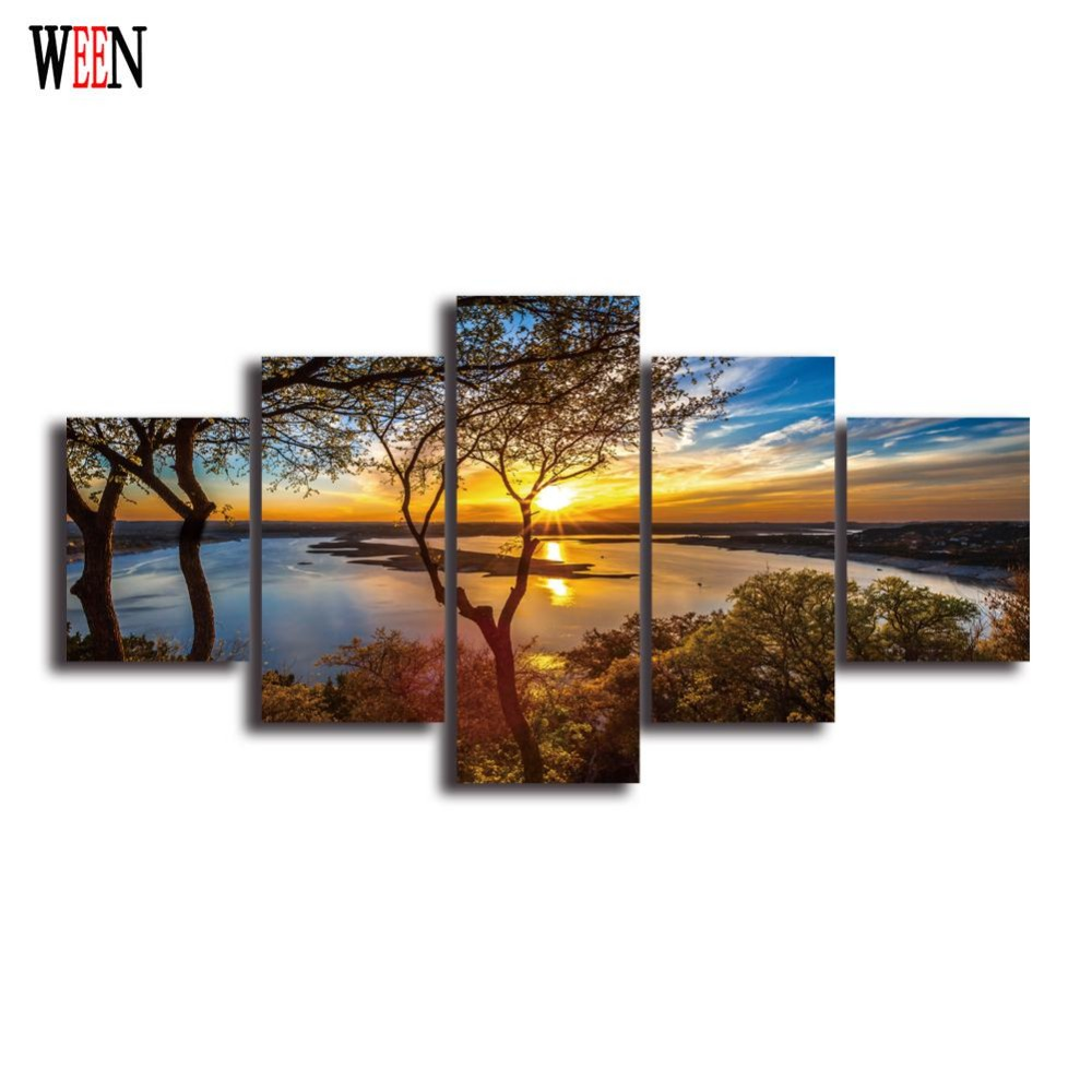 hd landscape 5 panel wall art canvas painting printed. Black Bedroom Furniture Sets. Home Design Ideas