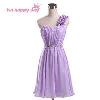 Szaty krótki jeden pasek szyfonu druhna dziewczyny lilac druhny suknia bez ramiączek party-line suknie damskie dekolt cukierki H1951