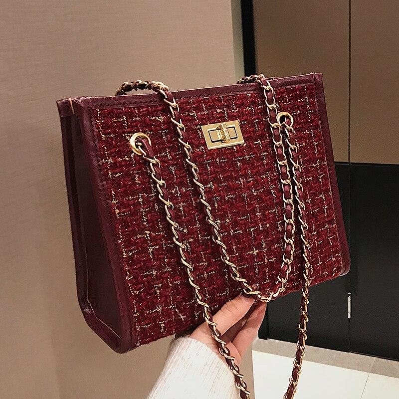 2 bags 2018 Winter Fashion New Ladies Big Tote bag Quality Woolen Women's Designer Handbag Lock Chain Shoulder Messenger bags 2