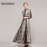 High Quality New 2017 Autumn Runway Maxi Dress Women's Long Sleeve Elegant Embroidery Beach Party Long Dress Women