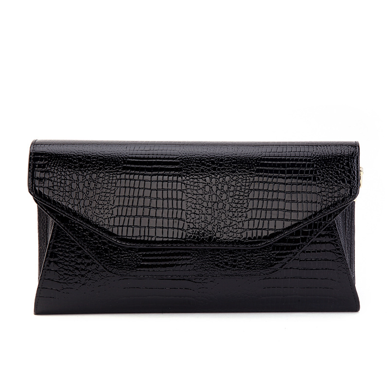 Luxury Genuine Leather Clutch Women Crocodile Pattern Leather Shoulder Bag Evening party Clutch Wallet Purse Chain Messenger Bag