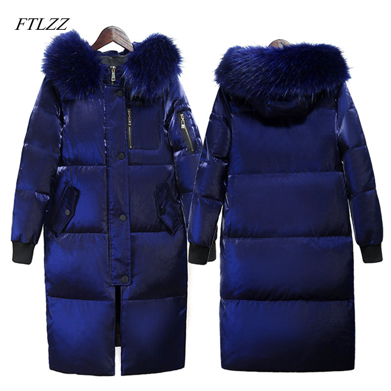 FTLZZ Winter Long Down Jacket Women Big Fur Collar Hooded White Duck Down Long Parkas Coat