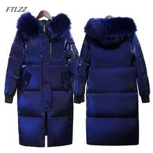 FTLZZ зимняя длинная пуховая куртка женская большой меховой воротник с капюшоном белый утиный пух Длинные парки Пальто Женская Тонкая зимняя верхняя одежда