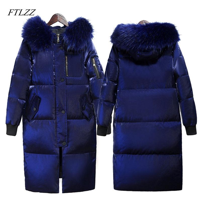 FTLZZ larga de invierno de las mujeres chaqueta grande Collar de piel con capucha de pato blanco abajo largo abrigo mujer Slim nieve prendas de vestir exteriores