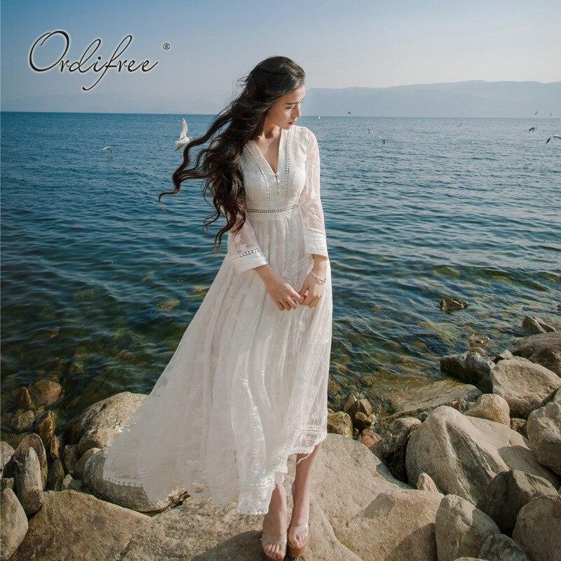 Ordifree 2019 été Boho femmes Maxi robe évider dentelle blanche Sexy longue tunique robe de plage