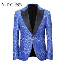 YUNCLOS Latest Design Men Suit Jacket Fashion Printing Blue Red Homme Marriage Masculino Best Men's Blazer Plus 6XL