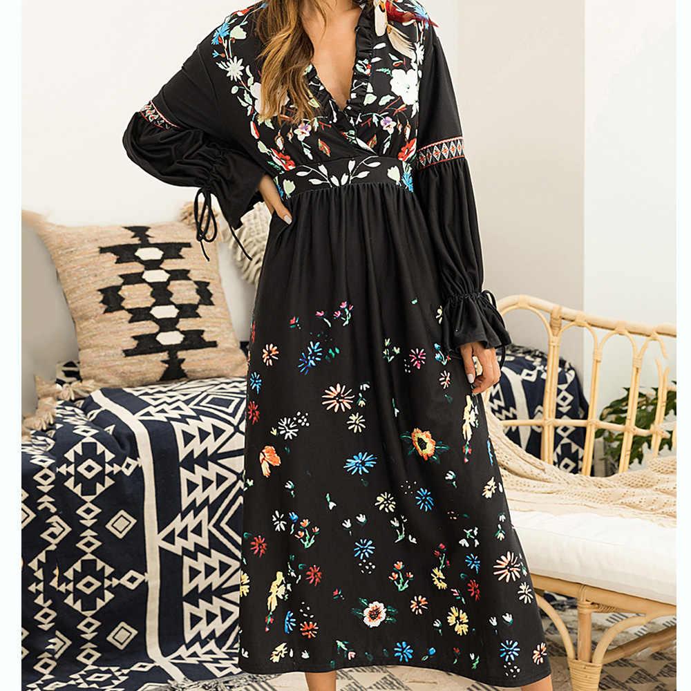 Femmes d'été imprimé Floral Maxi robe Sexy col en V à manches longues robes de plage soirée longue Boho robe grande taille Vestidos