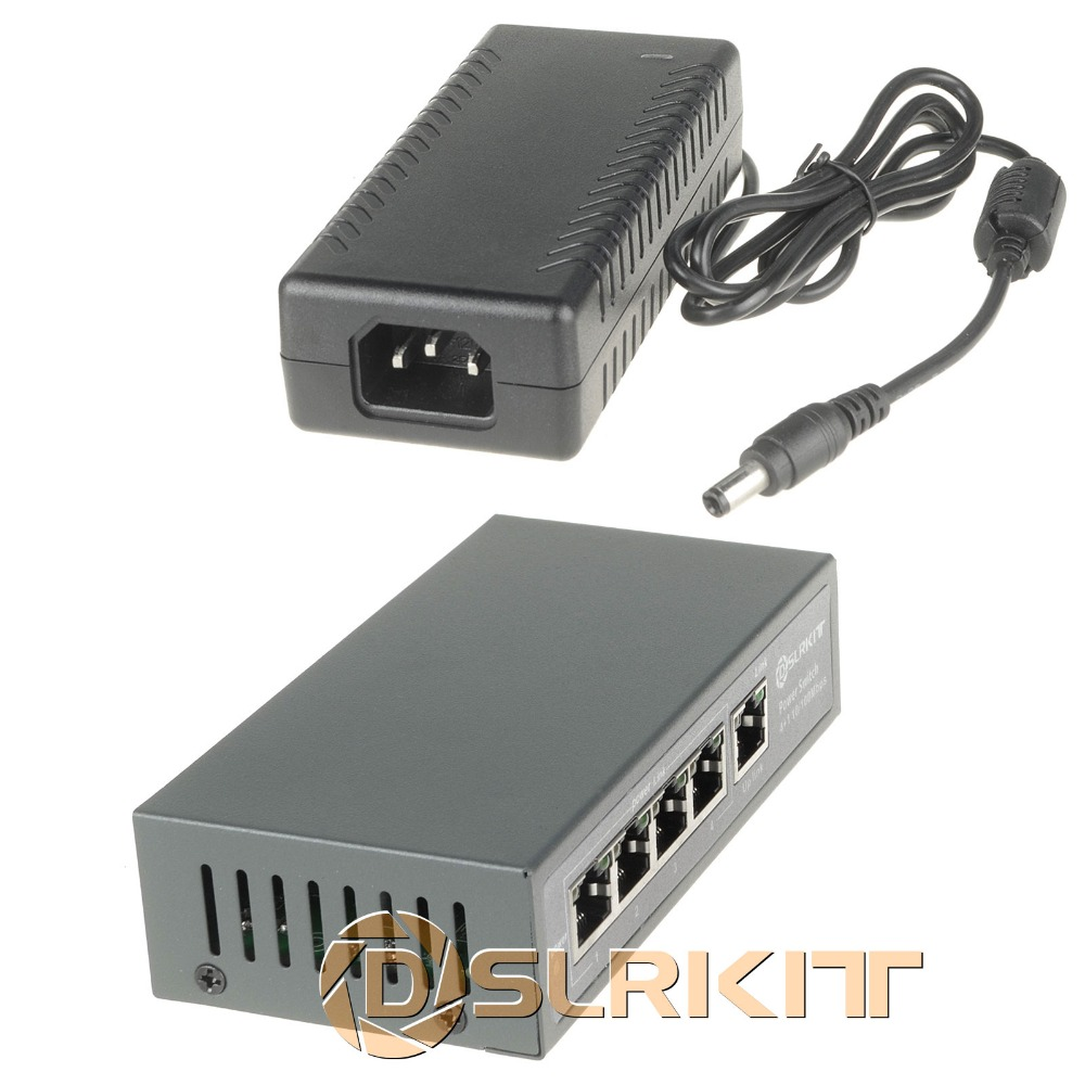 DSLRKIT 48V 96W 5 puertos 4 PoE Inyector Power Over Ethernet Switch 4,5 + / 7,8-