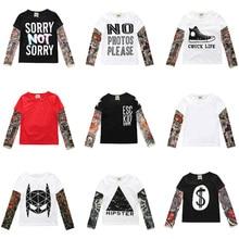 2019 Autumn Kids Tshirt Baby Boy Girls Clothes Cotton Children T-shirts for Boy Hip Hop Print Long Sleeve Tops Boys T Shirts недорого