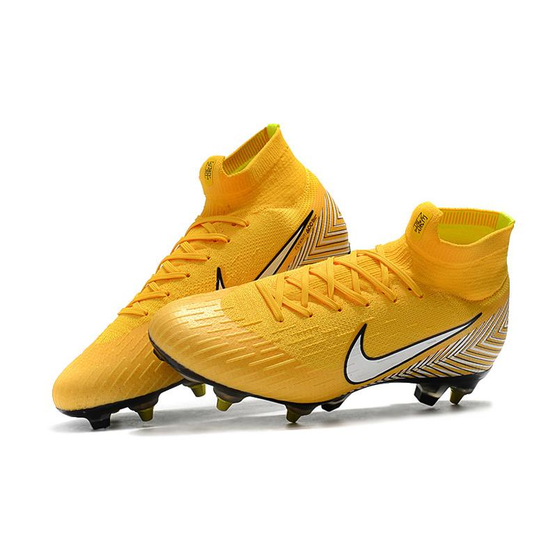 8ff5f2f04 Nike Mercurial Superfly VI Elite FG Football Cleats Soccer Shoes Yellow  Black high Ankle Men Outdoor
