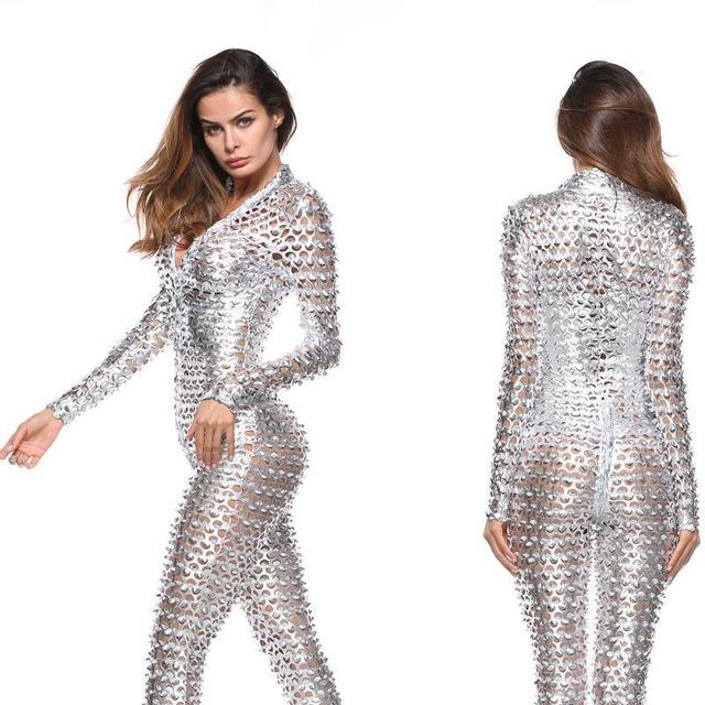 51c3297bdb8e Hot 2018 New women plus size chic jumpsuit sexy metal snake skin faux  leather zipper bodycon