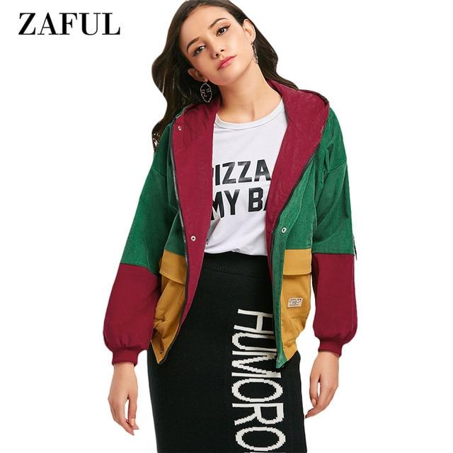 ZAFUL Casual Jacket Coat Women Patchwork Color Block Hooded Pocket Corduroy Winter Autumn Jackets Jacket Coats Women Outerwear