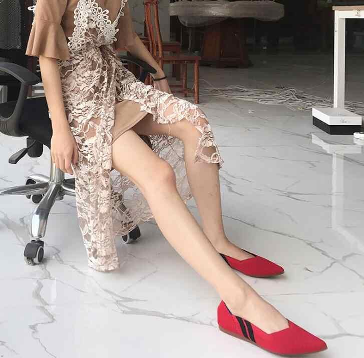 Nữ Co Giãn dệt kim phối màu đanh thoáng khí ấm cúng Giày công sở ngắn trơn thời trang nữ nhẹ lái xe cho nữ 35 -40