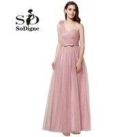 Suknia 2017 SoDigne Lange Abendkleider Blush Róż Tulle Sweetheart Piętro Długość Strona Formalna Suknia Korowód Suknie