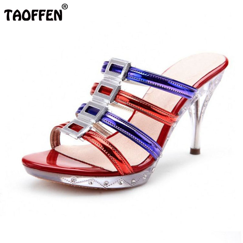 TAOFFEN Sexy Women Real Genuine Leather High Heel Sandals Gladiator Platform Buckle Gold Heel Sandals Summer Shoes Size 34-39 phyanic 2017 gladiator sandals gold silver shoes woman summer platform wedges glitters creepers casual women shoes phy3323