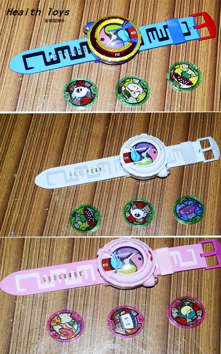 2017 New Japanese Anime Yokai Watch DX Yo-Kai Wrist Watch Kids Toy With 3 Medals Cosplay Christmas Gift Action Toy Figures