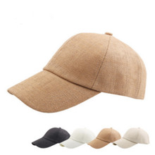 e06c5746747 Breathable Straw Baseball Cap For Women Men Solid Adjustable Summer Snapback  Hat Male Curved Summer Cap