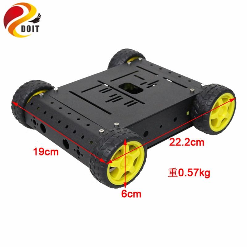 Flight Tracker 4wd Smart Car Chassis Kit Mit Tt Motor Rad Aluminium Legierung Halterung Für Arduino Diy Fernbedienung Roboter Kit Rc-panzer Fernbedienung Spielzeug