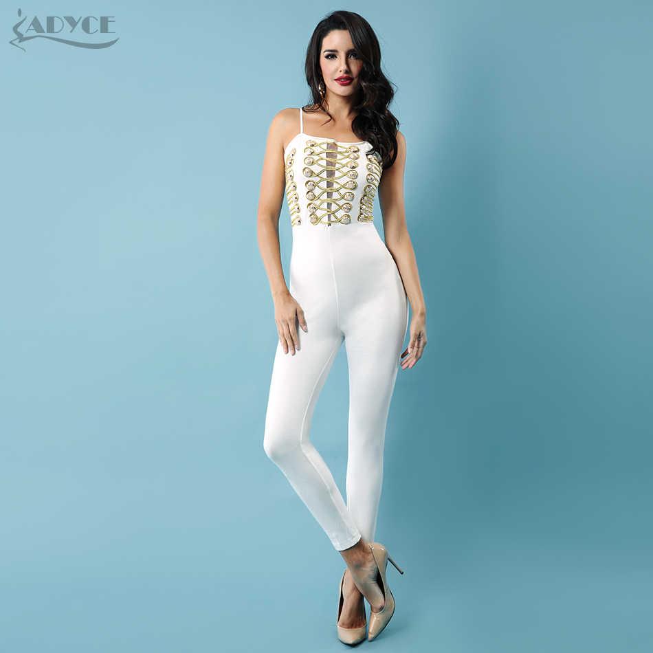 71be1e9c7d5 ... Adyce 2018 New Black White Jumpsuits Celebrity Party Women Long  Jumpsuit Sexy Button Lace Up Club ...