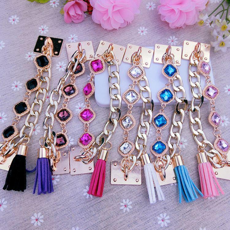 Bling Glitter Chain Tassels Bracelet Hot Korean Version DIY Bracelet, Mobile Phone Accessories For IPhone X 8 7 6 Plus Samsung