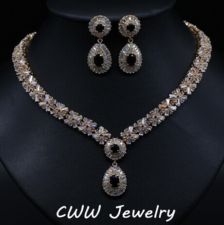 Exquisite Gold Plated Round AAA+ Swiss Cubic Zirconia Crystal Women Costume Jewelry Sets With Black Zircon Stones T104