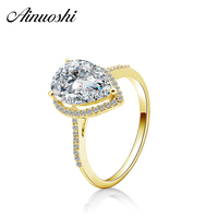 AINUOSHI 14K Solid Yellow Gold Droplet Ring 3 Carat Pear Cut Women Wedding Engagement Fine Jewelry Hollow Halo Real Gold Ring