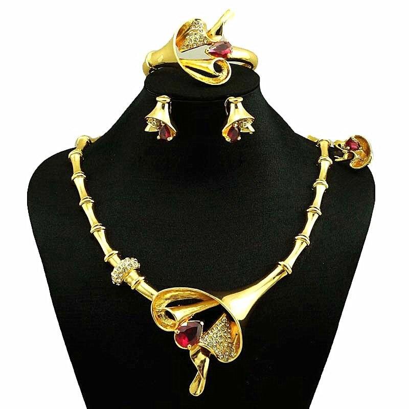 De luxe Dubaï bijoux en or ensembles pour femmes Nigérian fleur de mariage bijoux ensemble 24 k or indien de mode bijoux collier ensemble
