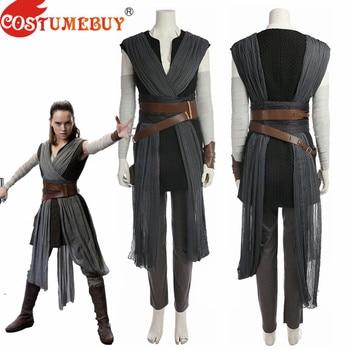 CostumeBuy Cosplay Star Wars 8 The Last Jedi Rey Costume For Adult Women Halloween Carnival Costumes Custom Made