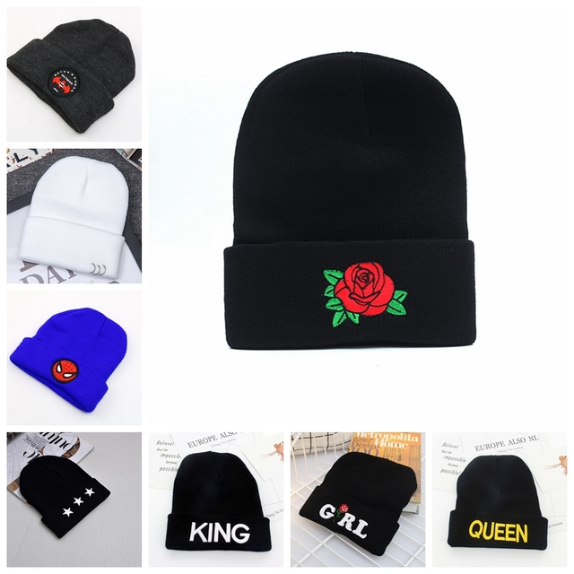 a20e0f5f143 Many Style Winter Hats Fashion Embroidery Knit Hat Unisex Casual Beanies  Warm Knitted Hat For Men Women