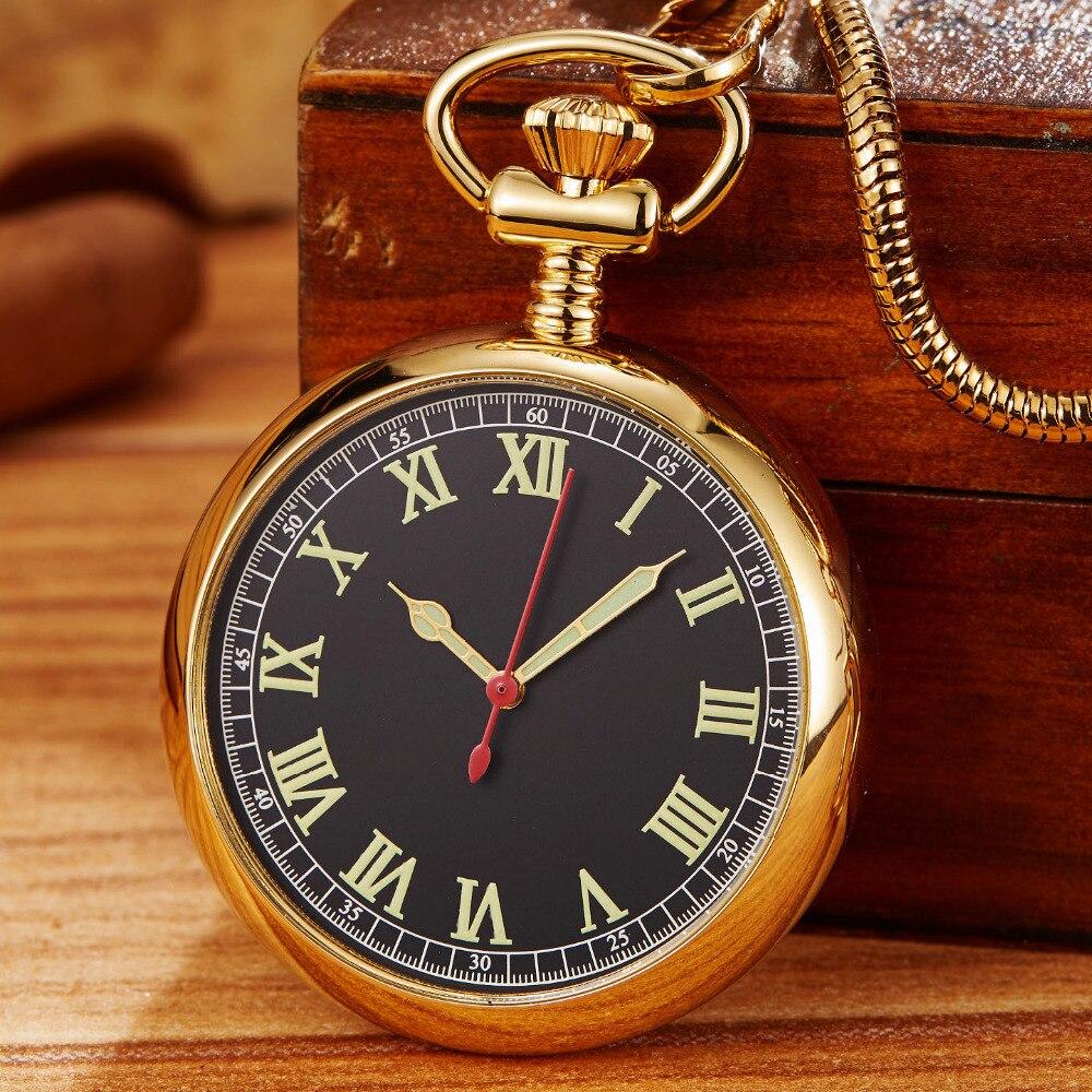 Vintage Golden Luminous Mechanical Pocket Watch Men Women Fob Chain Exquisite Sculpture Copper Automatic Retro Pocket Watch Gif