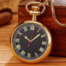 Lüks Retro Altın Işık Mekanik cep saati Erkekler Kadınlar Fob Zinciri Zarif Heykel Bakır Otomatik cep saati Hediyeler