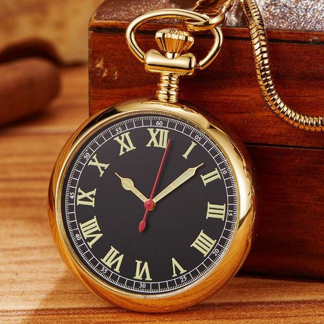 Montre de poche mécanique rétro dorée de luxe pour hommes et femmes. Chaîne Fob exquise. Sculpture en cuivre. Montre de poche automatique. Cadeaux