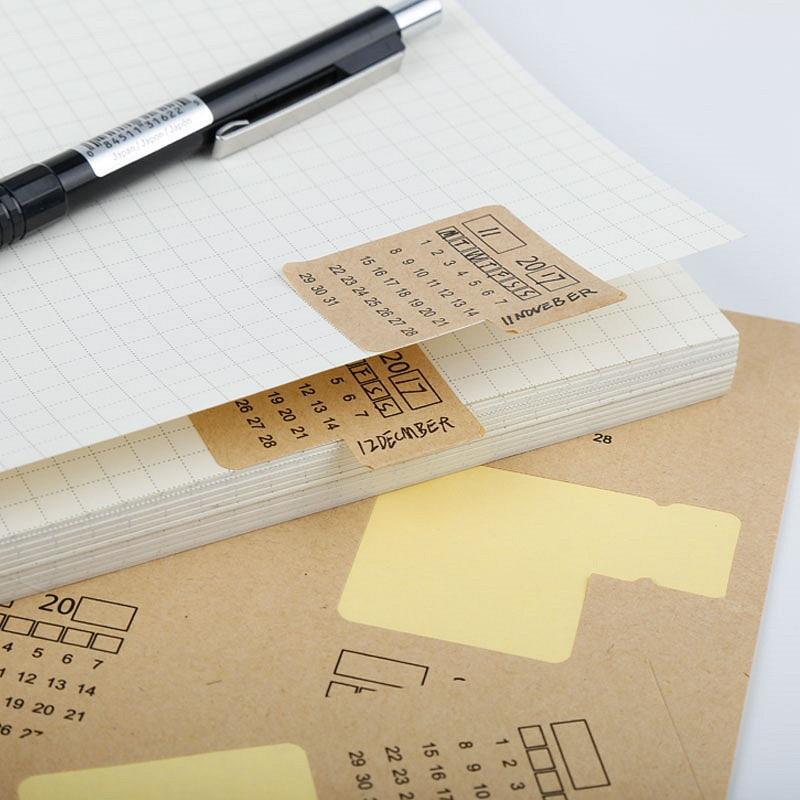 4Sheets New 2019 2020 Kraft Paper Handwritten Calendar Notebook Index Label Stickers Calendar Sticker Stationery
