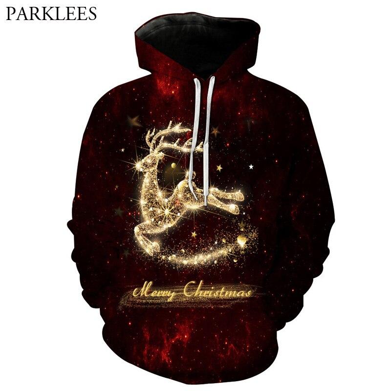 Hoodies & Sweatshirts Jaycosin Mens Autumn And Winter Christmas Plus Velvet Stitching Long-sleeved Hoodie Reindeer Feather Deer Earmuffs Sweatshirt