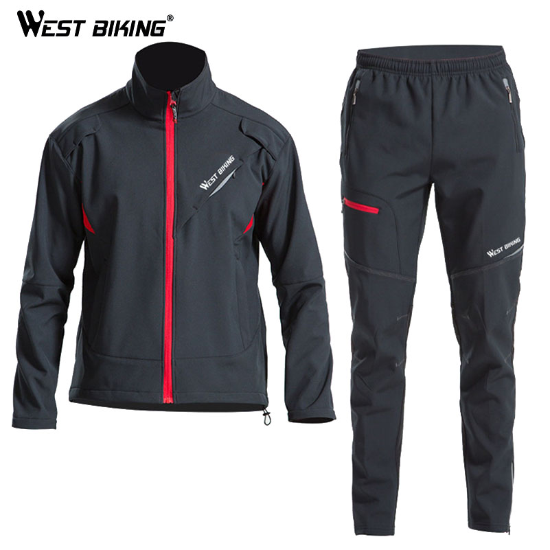 WEST BIKING Cyklistická sada Zimní MTB Road Bike Temperature Windproof Men Jacket Set Fleece Ropa Ciclismo Bike Winter Jersey Set