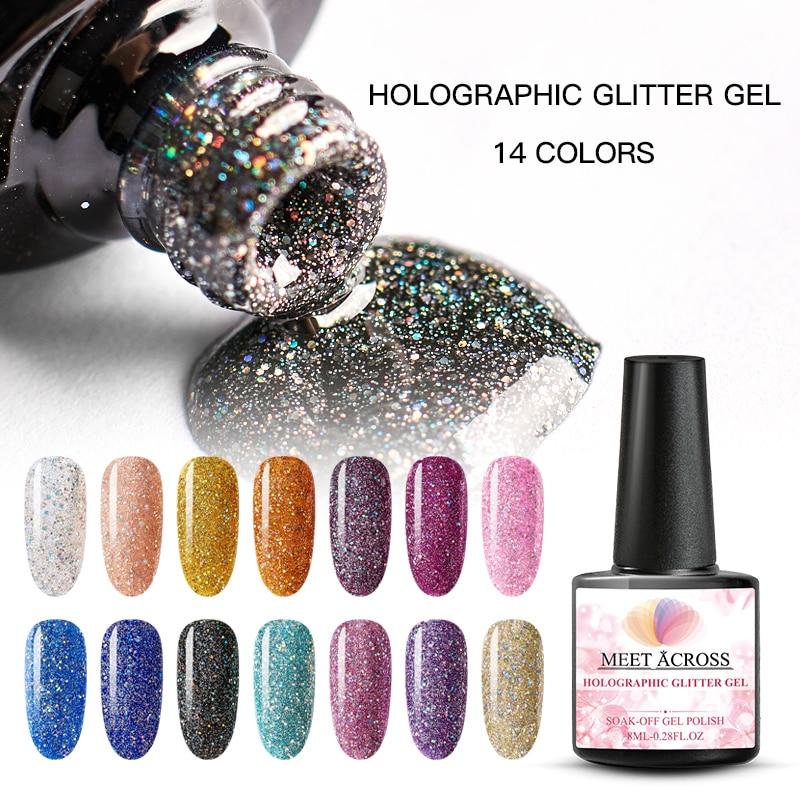 MEET ACROSS Holographic Glitter UV Gel Nail Polish Glitter Sequins Soak Off UV Gel Varnish Colorful Nail Gel Polish DIY Nail Art
