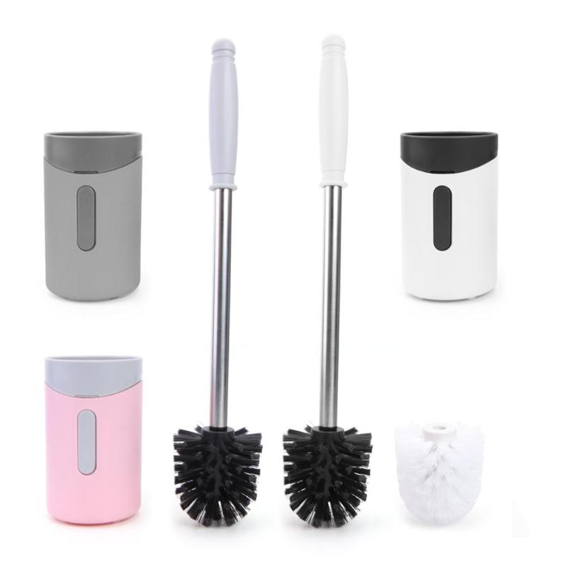 Wall-Mounted Long Handle Toilet Cleaner Brush With Base Bathroom WC Tools