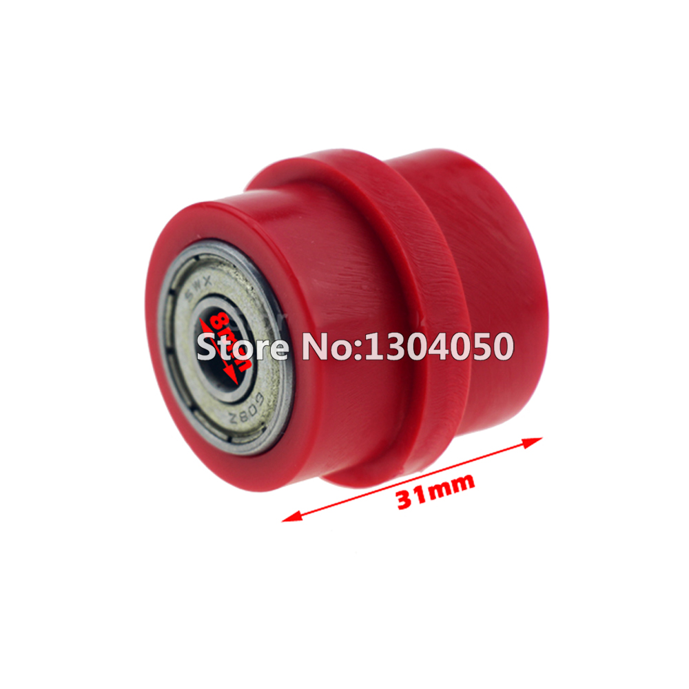 8mm Red Chain Roller Tensioner Pulley Wheel Guide For YZF KTM RMZ KLX CRF 80 250 150 250 450 Motorcycle Motocross Pit Dirt Bike