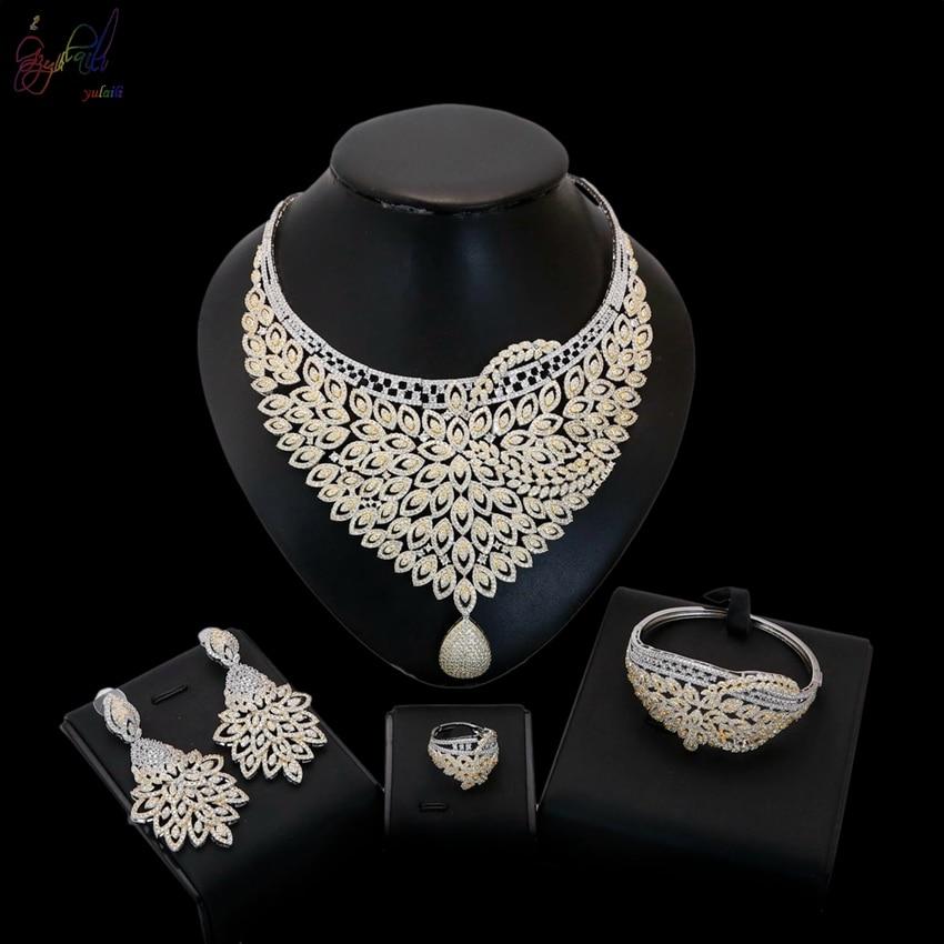 Yulaili nouveau européen américain femmes mode bijoux pendentif cristal collier Bracelet anneau boucles d'oreilles ensembles de bijoux
