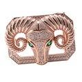 Hombres delicados Accesorios de La Correa Cabeza de Oveja Diseño Polígono Forma Hebilla Incrustaciones de Circón Naturales Zodiaco Chino Hiphop Vaqueros Cinturones