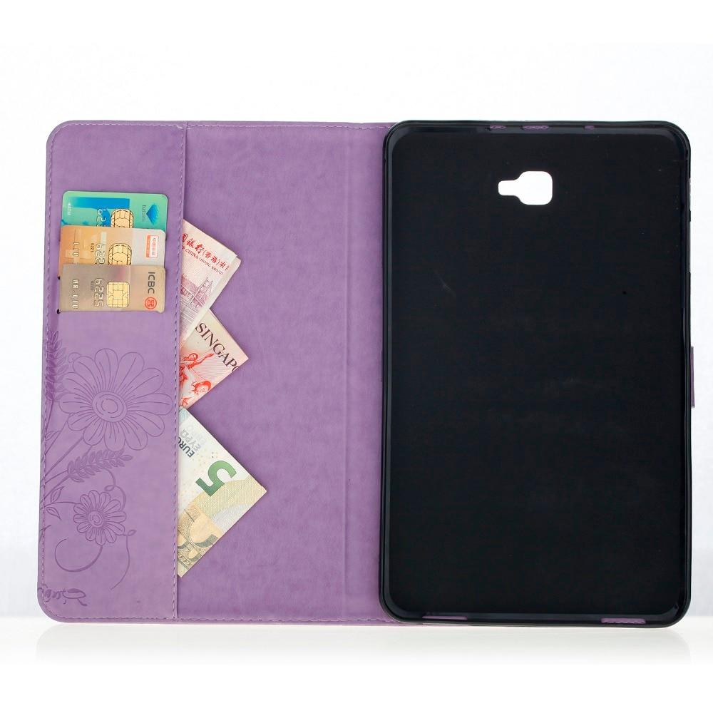3D Flower Case For Samsung Galaxy Tab A6/A 10.1 2016 SM-T580 SM-T585 PU Leather Soft Flip Cover Case For Samsung T580 T585 T585N