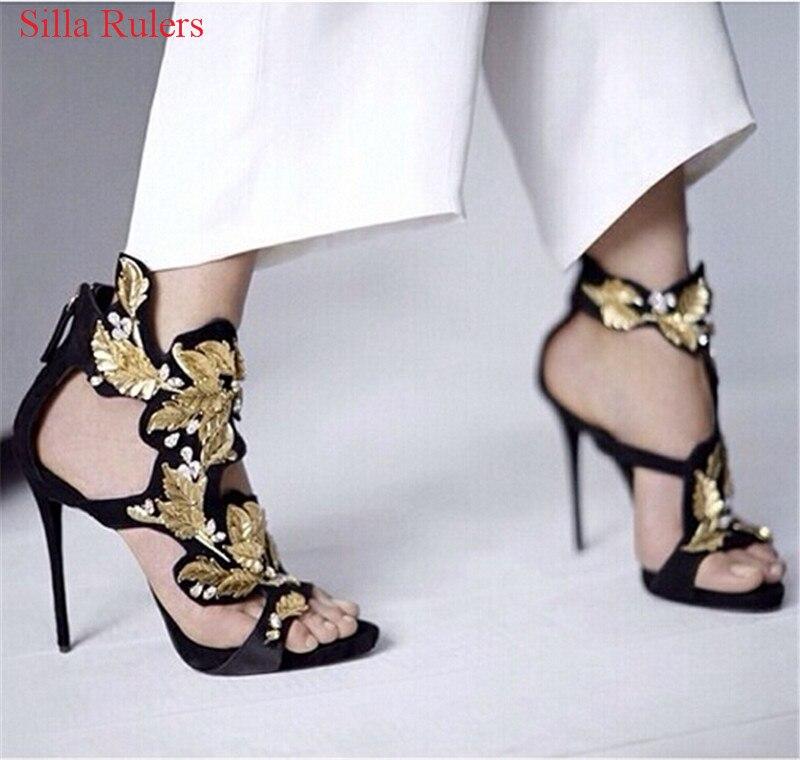 Luxury Crystal Gold Leaf Women Sandals Black Suede Gladiator Sandals Women Wedding Shoes Woman High Heels Pumps Sandalias Mujer